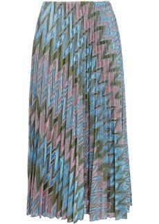 M Missoni Woman Pleated Metallic Crochet-knit Midi Skirt Light Blue