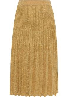 M Missoni Woman Pleated Metallic Crochet-knit Skirt Gold