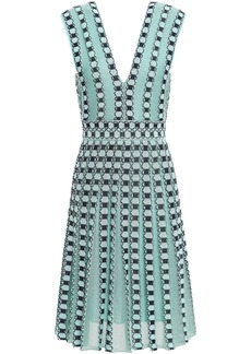 M Missoni Woman Pleated Metallic Jacquard-knit Dress Mint