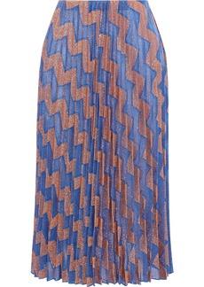M Missoni Woman Pleated Metallic Jacquard-knit Midi Skirt Copper