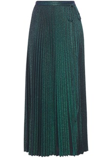 M Missoni Woman Pleated Metallic Stretch-knit Midi Skirt Emerald