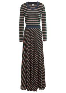 M Missoni Woman Pleated Metallic Striped Knitted Maxi Dress Multicolor