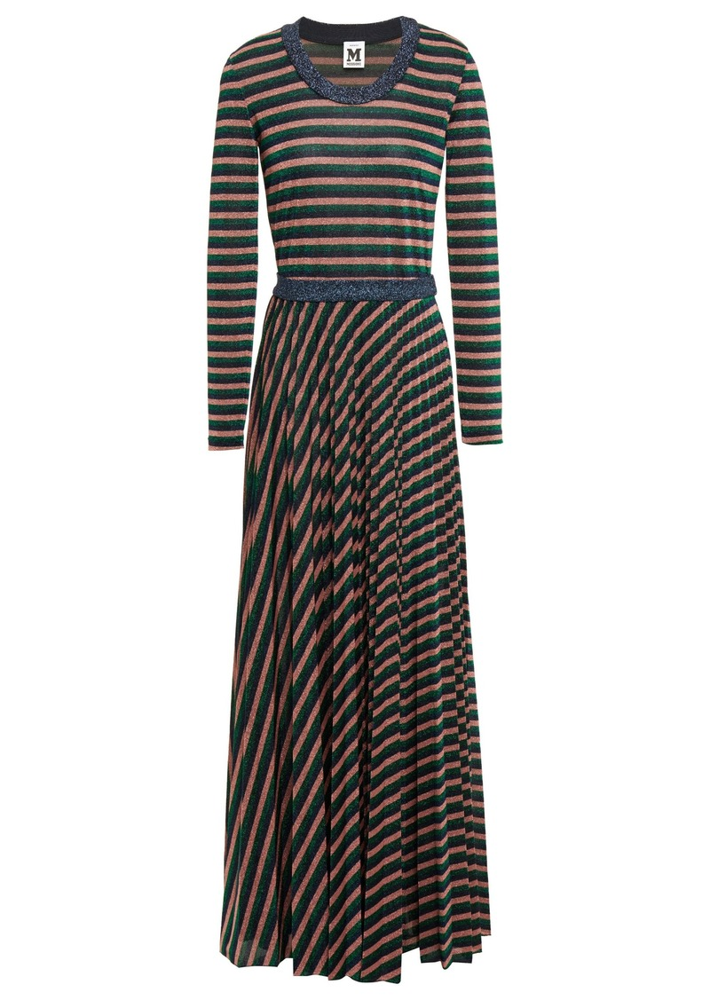 M Missoni Woman Pleated Metallic Striped Knitted Maxi Dress Multicolor