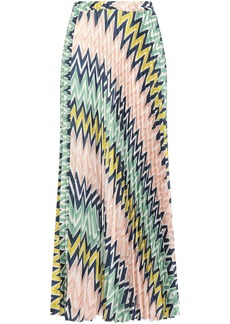 M Missoni Woman Pleated Printed Crepe De Chine Maxi Skirt Blush