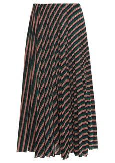 M Missoni Woman Pleated Striped Metallic Crochet-knit Midi Skirt Antique Rose