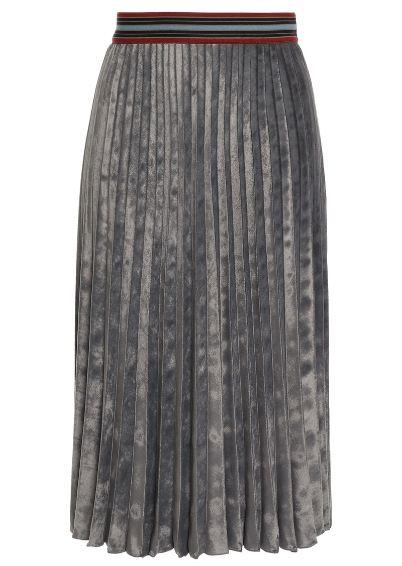 M Missoni Woman Pleated Velvet Skirt Grey Green