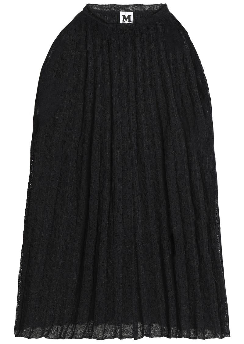 M Missoni Woman Plissé Cotton-blend Crochet-knit Top Black