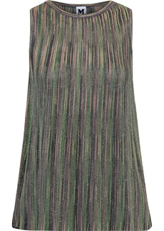 M Missoni Woman Plissé Metallic Crochet-knit Top Green