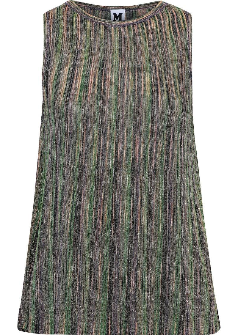 M Missoni Woman Plissé Metallic Crochet-knit Top Green