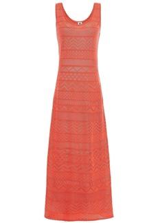M Missoni Woman Pointelle-knit Cotton-blend Maxi Dress Papaya