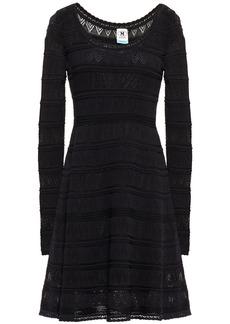 M Missoni Woman Crochet-knit Cotton-blend Mini Dress Black