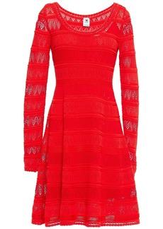 M Missoni Woman Pointelle-knit Cotton-blend Mini Dress Red