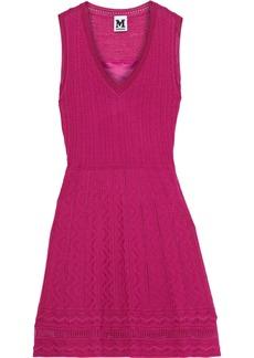 M Missoni Woman Pointelle-trimmed Crochet-knit Wool-blend Mini Dress Magenta