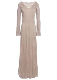 M Missoni Woman Pointelle-trimmed Metallic Ribbed-knit Maxi Dress Taupe