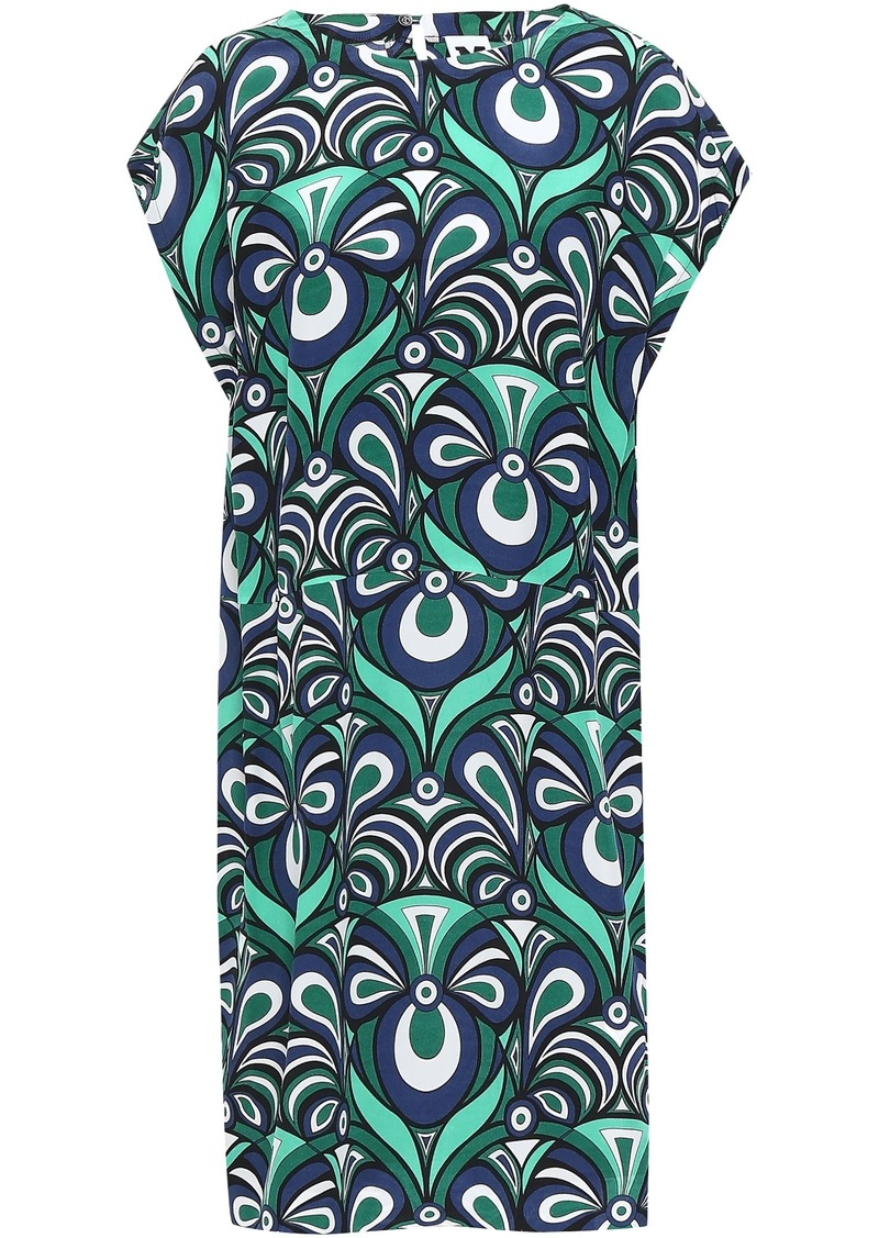 M Missoni Woman Printed Silk Crepe De Chine Dress Teal