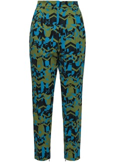 M Missoni Woman Printed Twill Tapered Pants Leaf Green