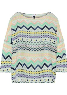 M Missoni Woman Printed Washed-silk Top Mint