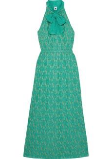 M Missoni Woman Pussy-bow Metallic Crochet-knit Maxi Dress Jade