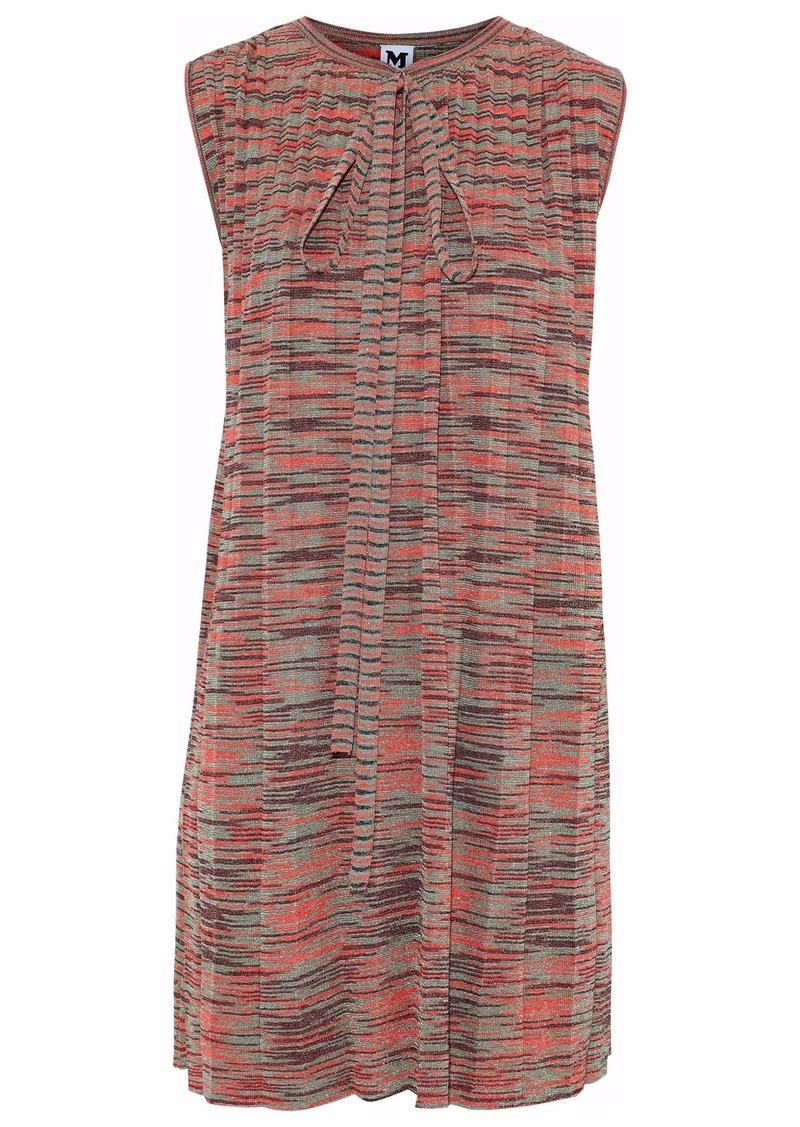 M Missoni Woman Pussy-bow Pleated Metallic Crochet-knit Mini Dress Papaya