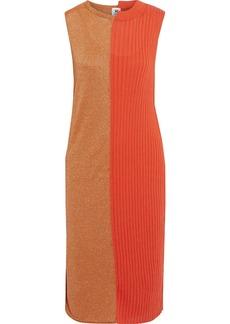 M Missoni Woman Ribbed And Metallic Crochet-knit Cotton-blend Dress Papaya