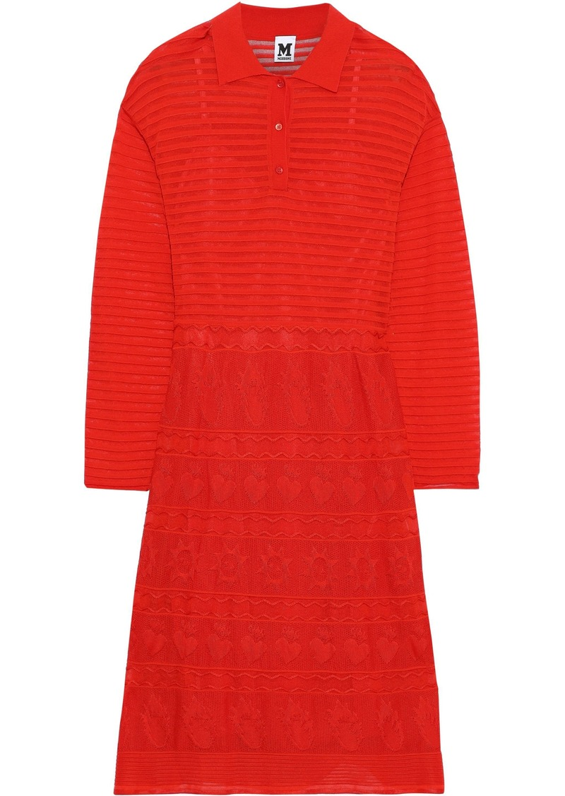 M Missoni Woman Ribbed And Pointelle-knit Shirt Dress Red