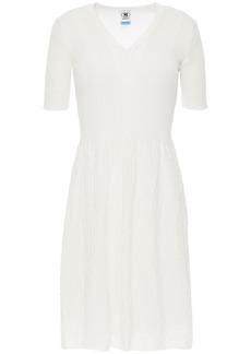 M Missoni Woman Ribbed Cotton And Crochet-knit Mini Dress Ivory