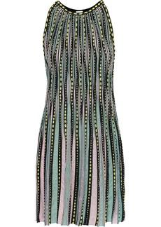 M Missoni Woman Pleated Jacquard And Crochet-knit Mini Dress Sky Blue
