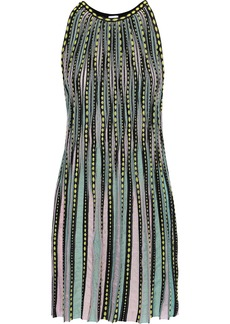 M Missoni Woman Ribbed Crochet-knit Mini Dress Sky Blue
