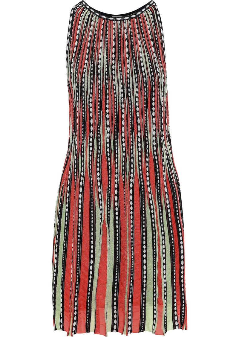 M Missoni Woman Pleated Jacquard And Crochet-knit Mini Dress Multicolor