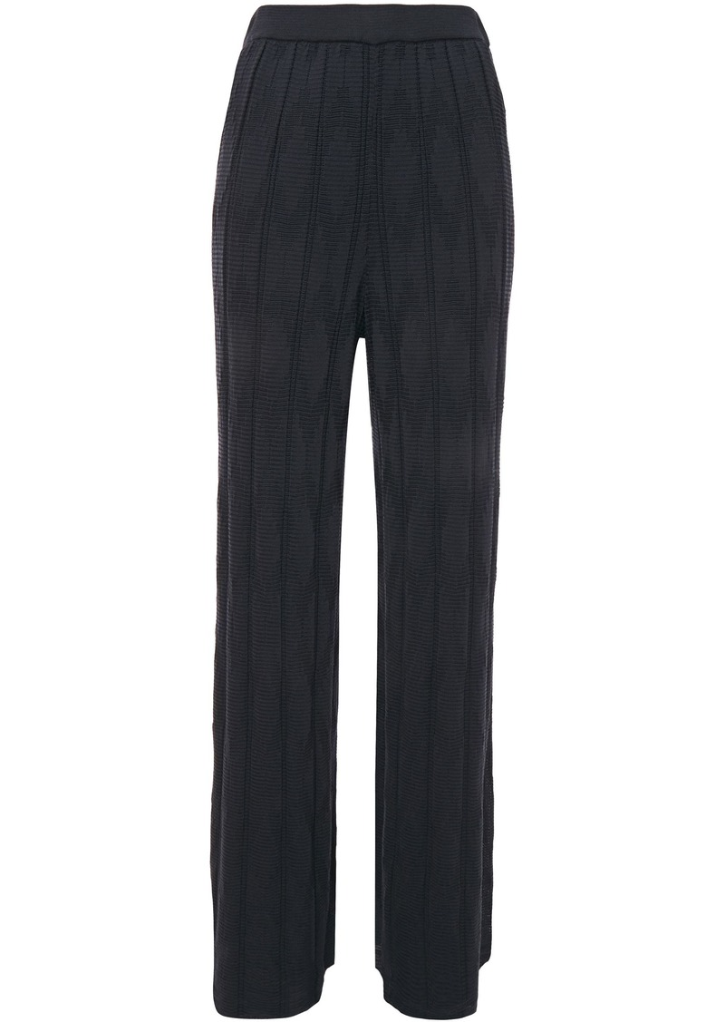 M Missoni Woman Ribbed Crochet-knit Wool-blend Wide-leg Pants Navy