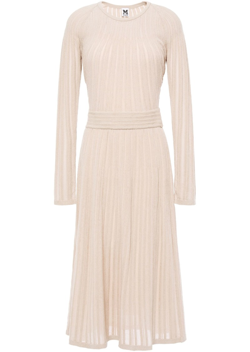 M Missoni Woman Ribbed-knit Midi Dress Sand
