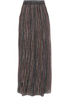 M Missoni Woman Ribbed Metallic Crochet-knit Maxi Skirt Navy