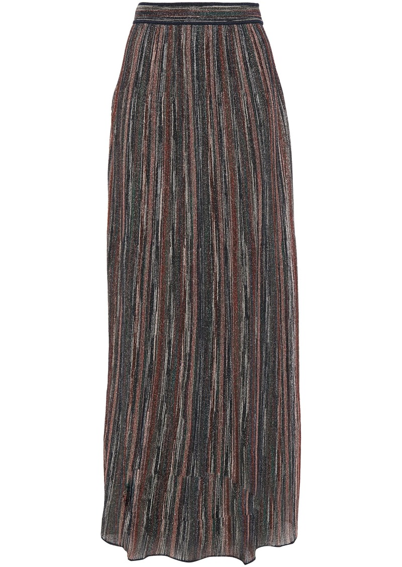 M Missoni Woman Ribbed Metallic Crochet-knit Maxi Skirt Navy