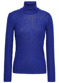 M Missoni Woman Ribbed Wool-blend Turtleneck Top Royal Blue