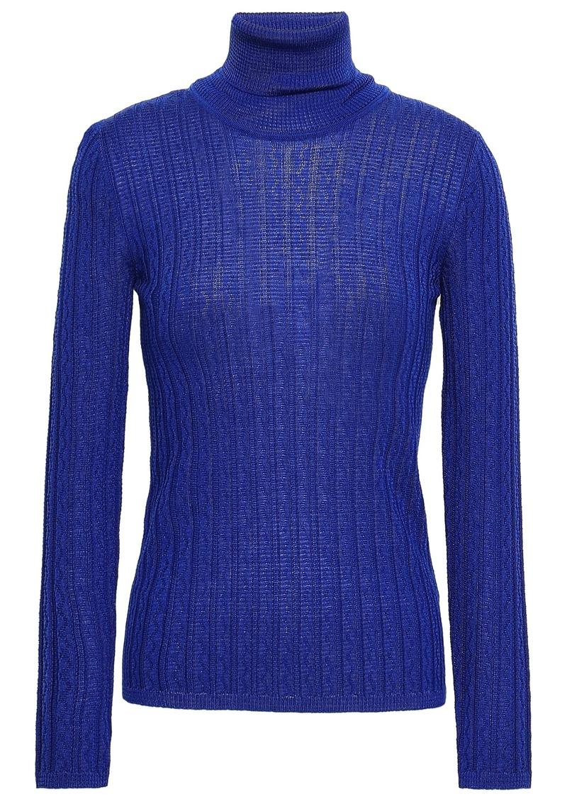 M Missoni Woman Ribbed Wool-blend Turtleneck Top Royal Blue