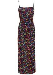 M Missoni Woman Ruched Printed Stretch-mesh Maxi Dress Black