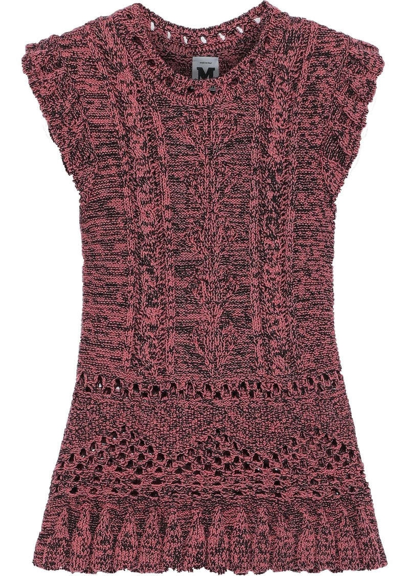 M Missoni Woman Ruffle-trimmed Marled Cable-knit Wool-blend Top Pink