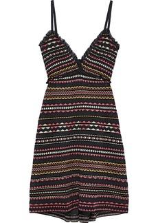 M Missoni Woman Ruffle-trimmed Striped Crochet-knit Dress Black