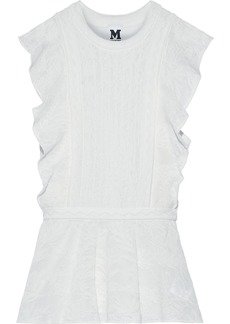 M Missoni Woman Crochet-knit Cotton-blend Peplum Top White