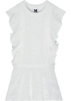 M Missoni Woman Ruffled Crochet-knit Cotton-blend Peplum Top White