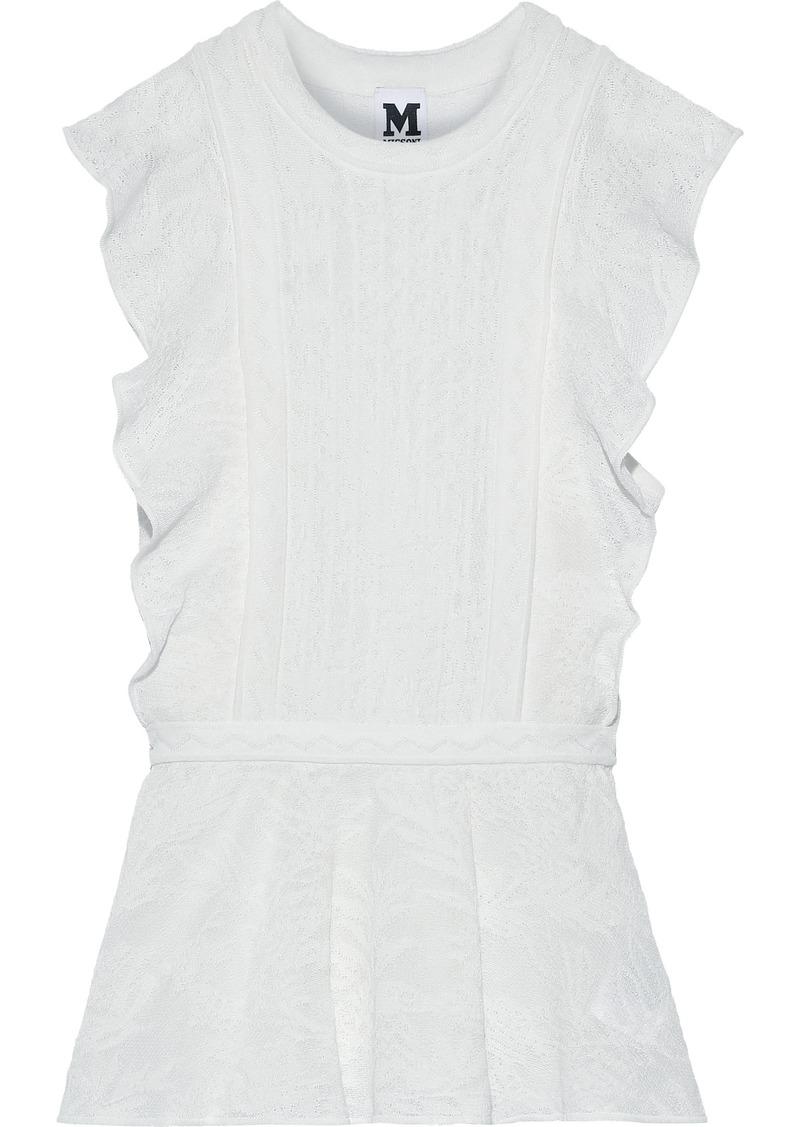 M Missoni Woman Crochet-knit Cotton-blend Peplum Top White