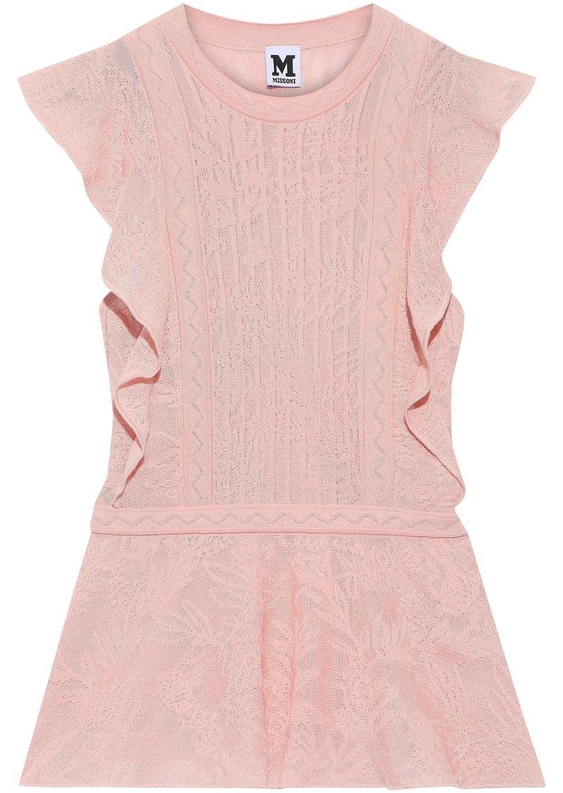 M Missoni Woman Crochet-knit Cotton-blend Peplum Top Baby Pink