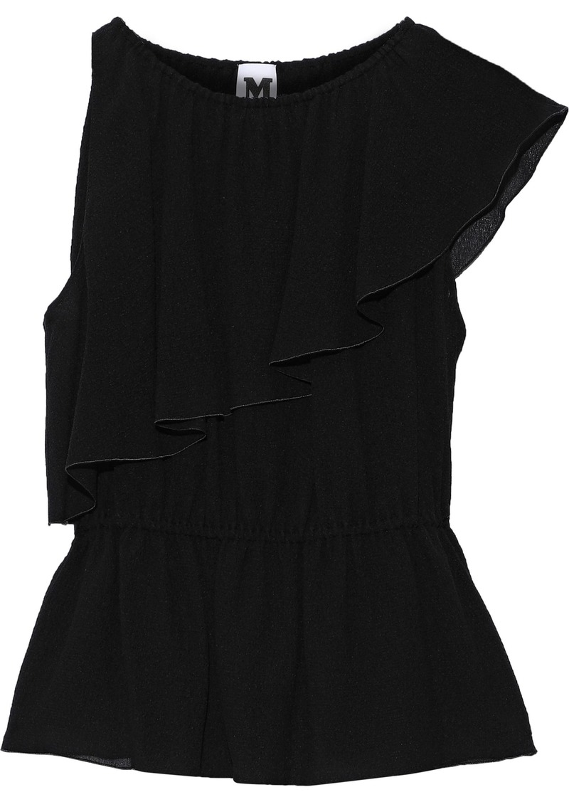 M Missoni Woman Ruffled Silk-gauze Peplum Blouse Black