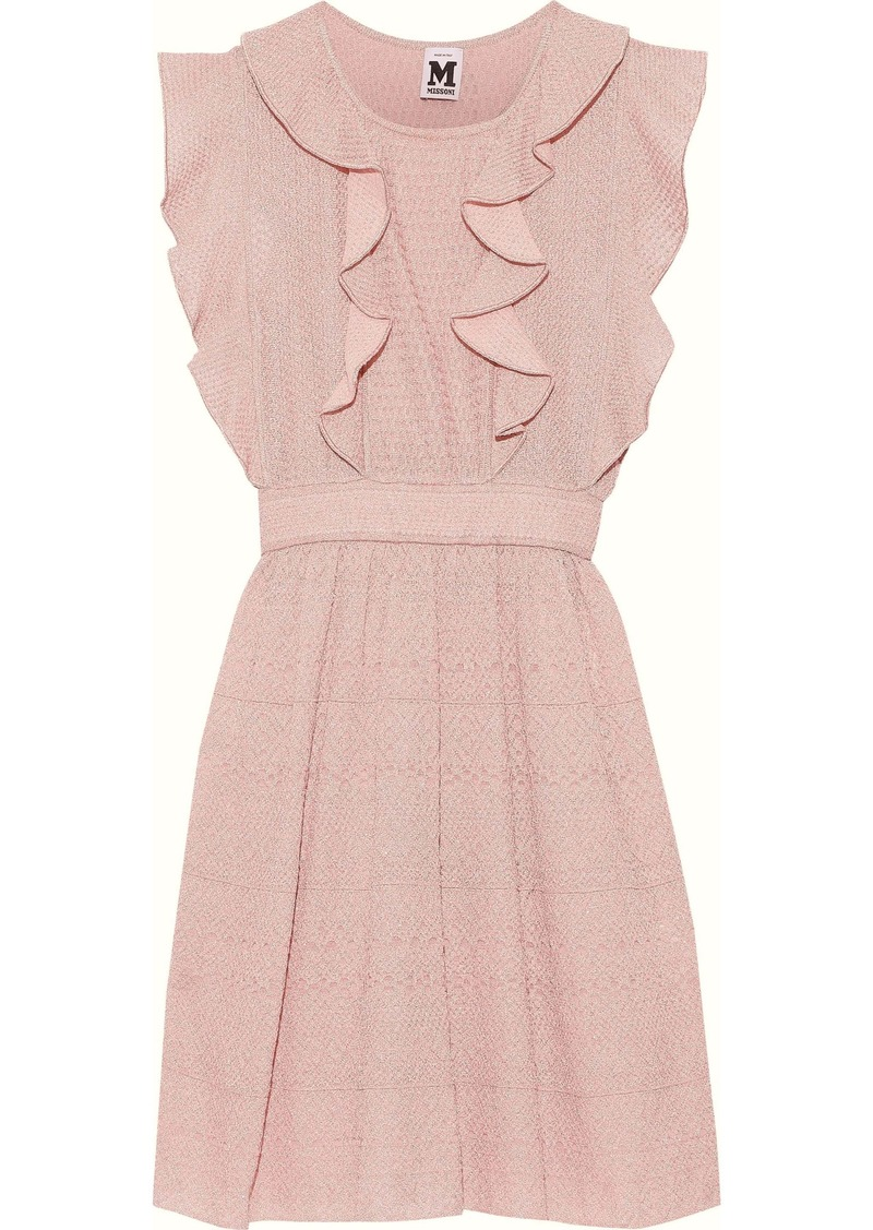 M Missoni Woman Ruffled-trimmed Metallic Crochet-knit Mini Dress Blush