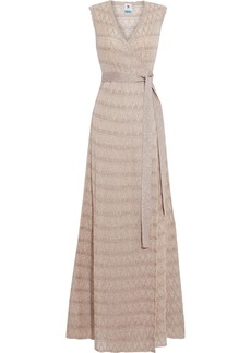 M Missoni Woman Scalloped Metallic Crochet-knit Maxi Wrap Dress Blush