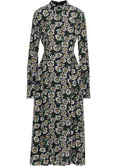 M Missoni Woman Shirred Floral-print Crepe De Chine Midi Shirt Dress Black