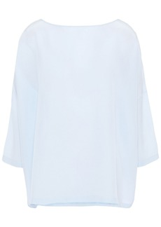M Missoni Woman Silk Crepe De Chine Blouse Sky Blue