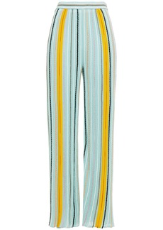 M Missoni Woman Striped Cotton-blend Wide-leg Pants Sky Blue