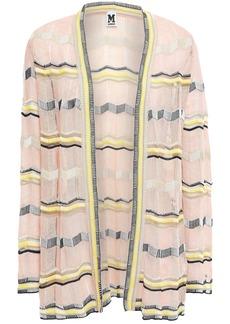 M Missoni Woman Striped Crochet-knit Cotton-blend Cardigan Pastel Pink