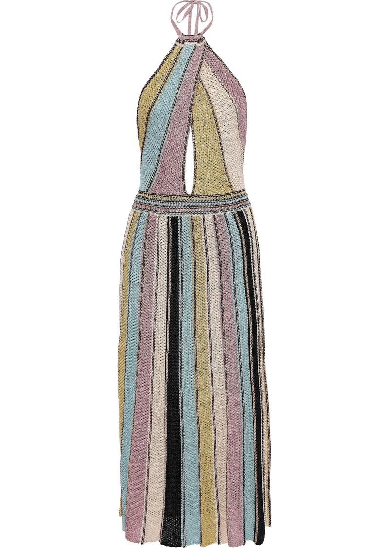 M Missoni Woman Striped Crochet-knit Cotton-blend Halterneck Midi Dress Antique Rose
